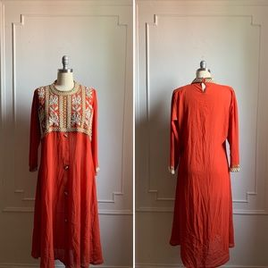 Vintage Sheer Embroidered and Beaded Dress